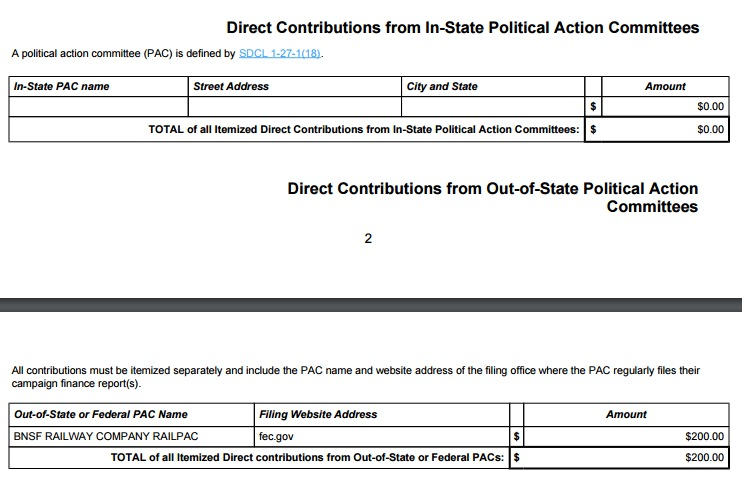 Sue Peterson for District 13, pre-general report missing in-state PAC info, 2016.10.28.