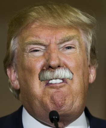 The mustache only heightens Trump's oral expressivity.
