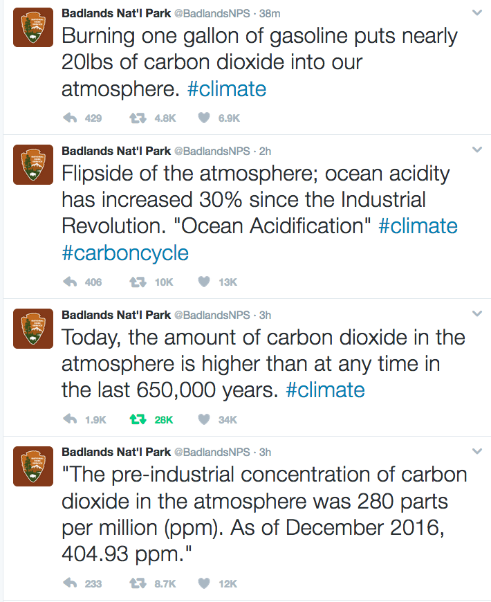 Badlands National Park, tweets on carbon dioxide and climate, 2017.01.24.