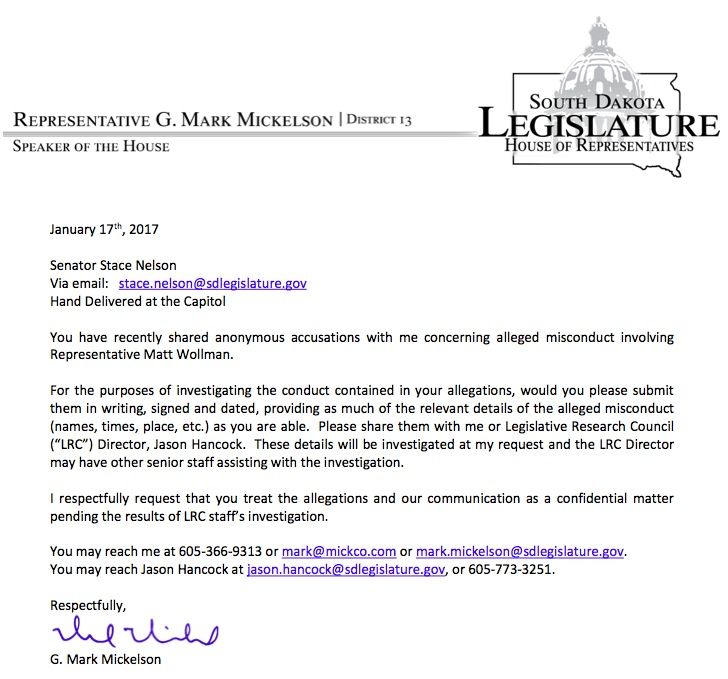 Speaker G. Mark Mickelson, letter to Senator Stace Nelson, 2017.01.17.