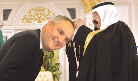 Dan Lederman bowing to Saudi prince