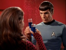 Romulan Commander and Spock on the Romulan flagship, stardate 5027.3.
