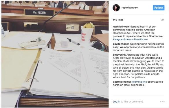 Rep. Kristi Noem, Instagram, 2017.03.08.