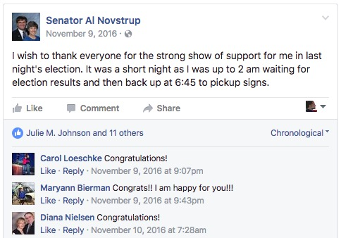 Most recent FB post by Senator Al Novstrup, posted 2016.11.09, screen capped 2017.03.13.