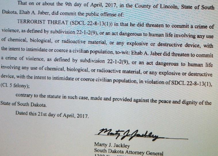 Attorney General Marty Jackley, complaint, State v. Jaber, Case #41CRI17-000282, filed 2017.04.21.