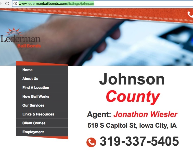 "Lederman Bail Bonds lists ""Jonathon Wiesler"" as an employee in Iowa City/Johnson County; screen cap 2017.04.25."