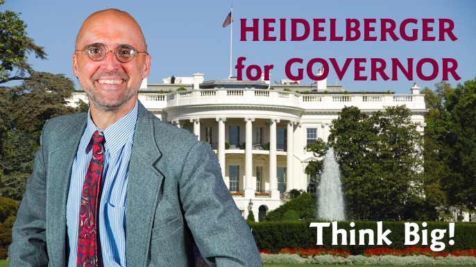 Heidelberger adopts the Prater/Weis graphic design approach to campaign ads.