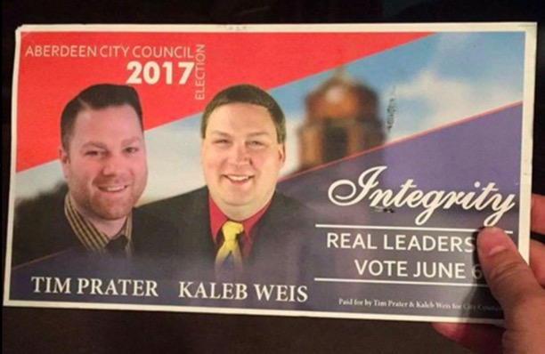 Prater/Weis postcard, posted on Tim Prater for City Council campaign Facebook page, 2017.05.07.