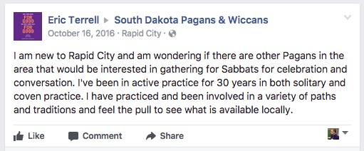 Eric Terrell to South Dakota Pagans & Wiccans, Facebook, 2016.10.16.