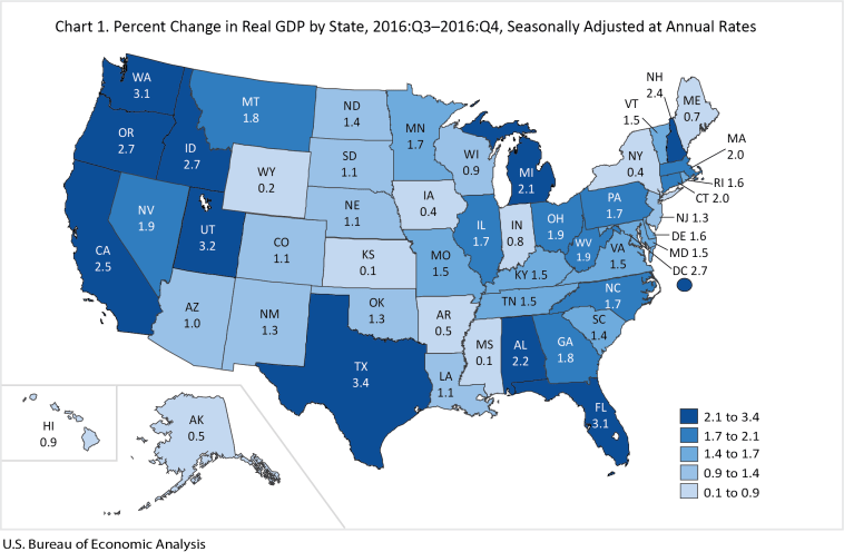 "BEA, ""Percent Change in Real GDP by State, 2016:Q3–2016:Q4, Seasonally Adjusted at Annual Rates,"" 2017.05.11."