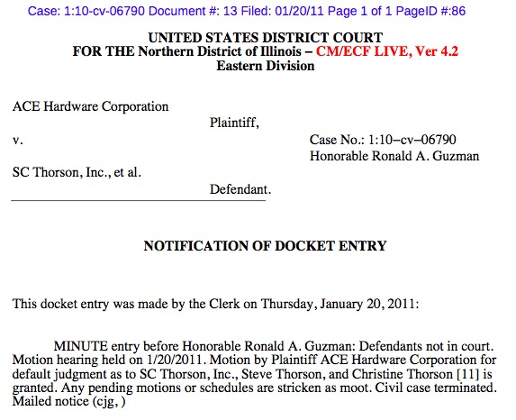 Ace v. Thorson, order for default judgment, Case #10-cv-06790, 2011.01.20.