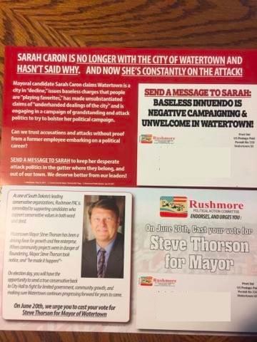 RushmorePAC postcards attacking Caron, supporting Thorson, back.