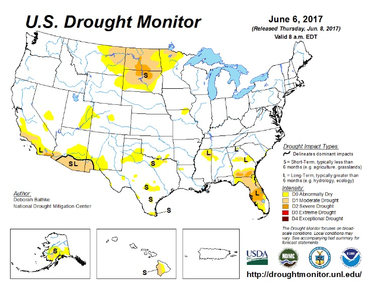 US Drought Monitor 2017.06.06