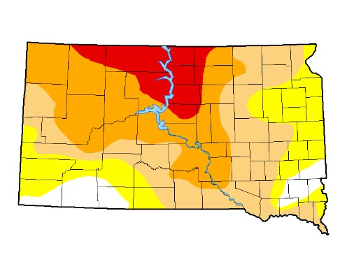 U.S. Drought Monitor (UNL), drought map for South Dakota, 2017.07.11.