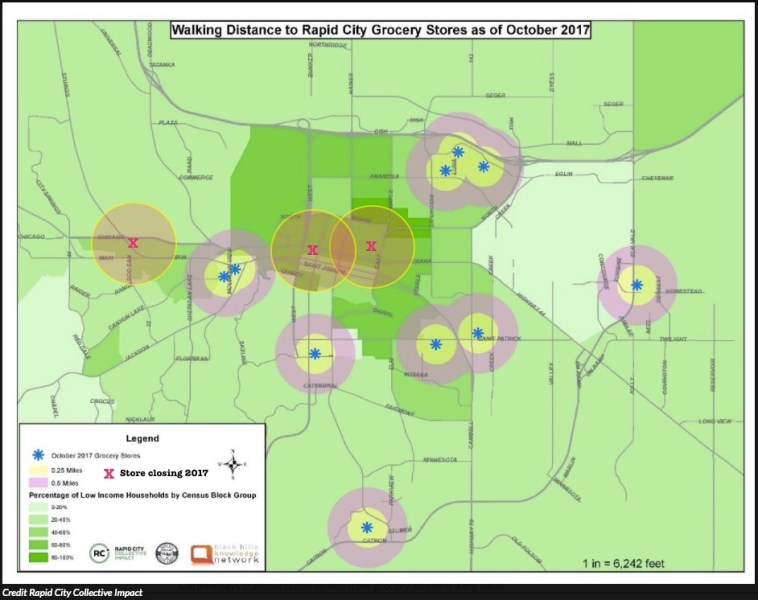 Rapid City grocery stores and walkability—map from Rapid City Collective Impact, modified by CAH.