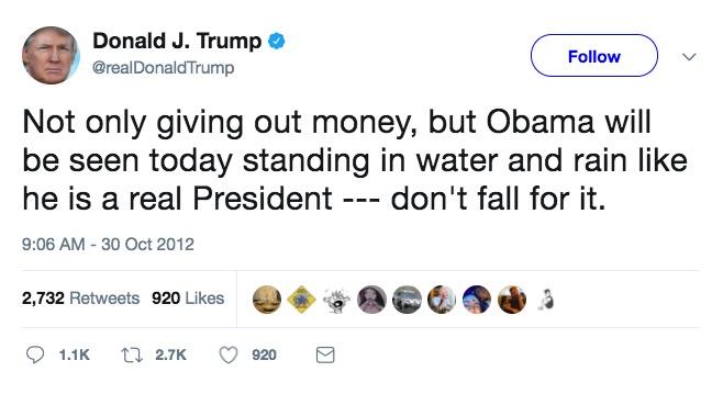 Donald Trump, Twitter, 2012.10.30