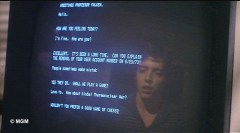 David Lightman, reflected in terminal screen, Wargames, 1983