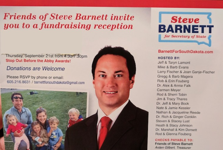 Invitation to Steve Barnett fundraiser, received by Dakota Free Press 2017.09.15.
