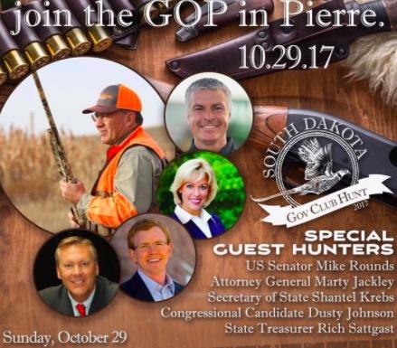 SDGOP Oct 29 fundraising hunt flyer, screen cap from Dakota War College, 2017.10.21.