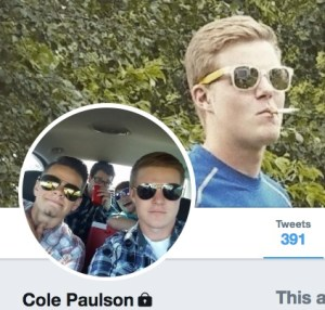 Cole Paulson, the way he wants the world to see him; Twitter profile cap, 2017.10.30.