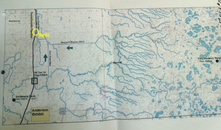 Drainage map of southern Marshall County, South Dakota