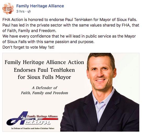 family heritage alliance endorses tenhaken for sf mayor dakota