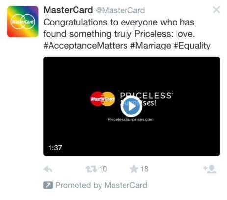Mastercard Marriage Equality Tweet