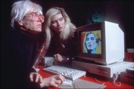 Andy Warhol 'painting' debbie harry on old mac computer