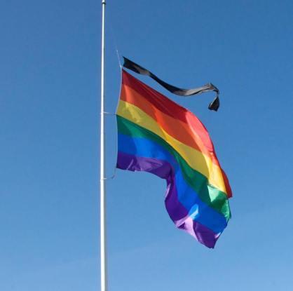 Rainbow Flag Half Mast black ribbon