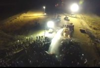 Police using water cannons on unarmed protectors, in frigid temperatures. (photo credit: Dallas Goldtooth) #StandingRock #DAPL #NoDAPL