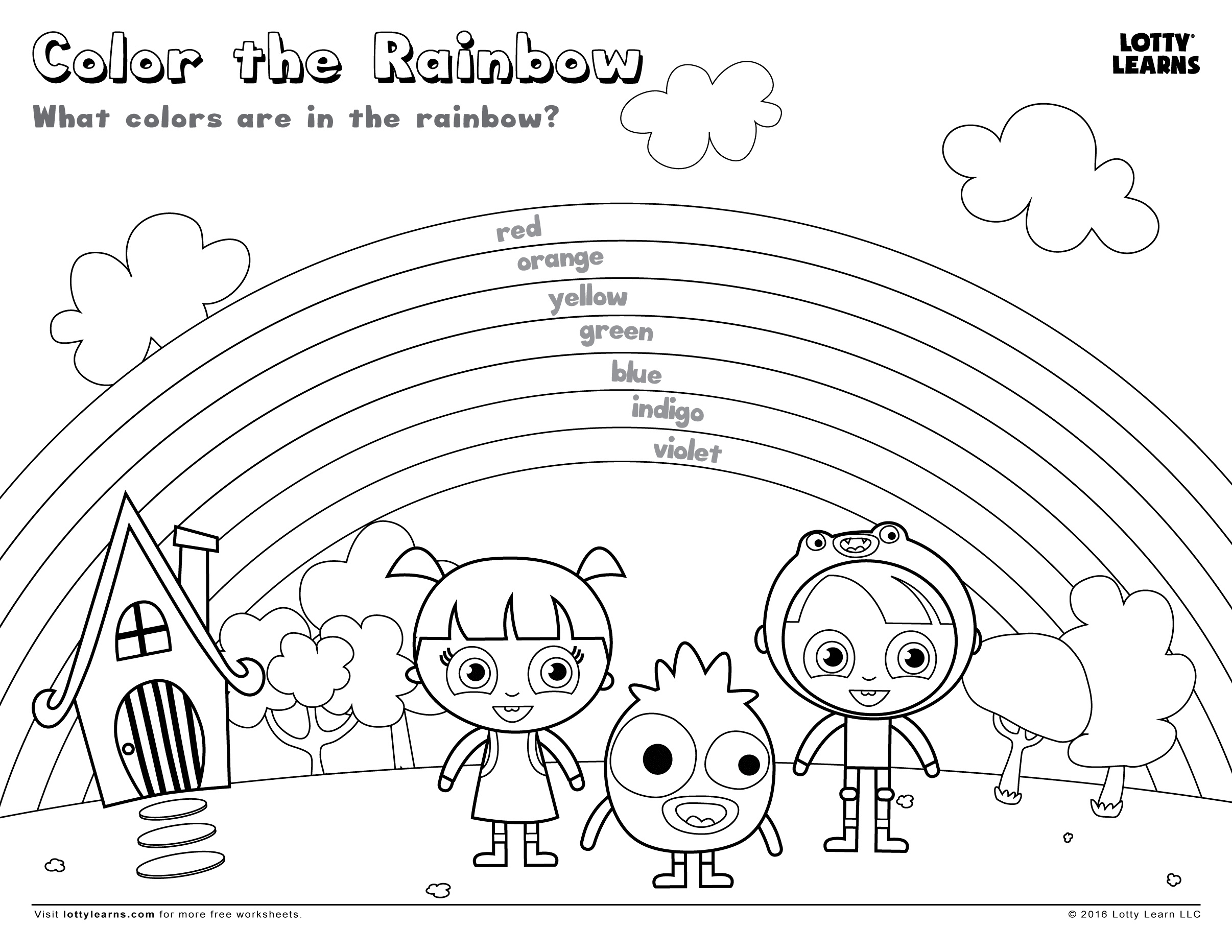 Roy G Biv With Rainbow Coloring Sheet Coloring Pages