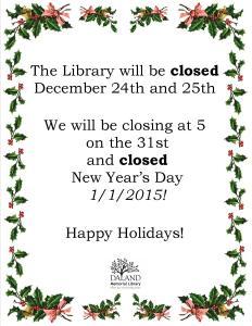 Holiday 2015 Closing