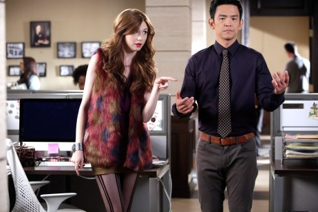 "SELFIE - ""Follow Through"" - Eliza's effort to ""follow through"" on a work idea impacts her relationship with Freddy. Henry rejects an admirer, leading to unexpected consequences, on ""Selfie,"" TUESDAY, NOVEMBER 25 (8:00-8:30 p.m., ET), on the ABC Television Network. (ABC/Nicole Wilder) KAREN GILLAN, JOHN CHO"