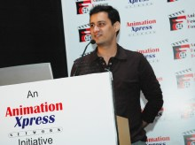 animation Dale Bhagwagar speaking on marketing, imaging, branding and innovation at the 'Animated Feature Forum' at Hayatt Regency