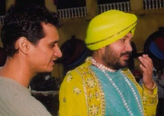 daler Dale Bhagwagar with Daler Mehndi during the shoot of a video