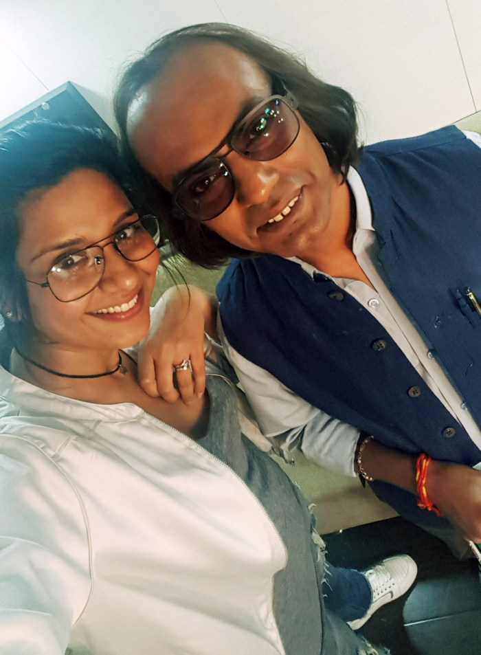 Preetisheel Singh with Nawazuddin Siddiqui on the sets of Mom.