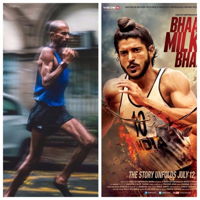 [Left] Samir Singh running in Mumbai, [Right] Farhan Akhtar in Bhaag Milkha Bhaag (Image Courtesy - Google).