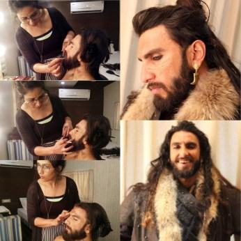 Preetisheel Singh working on Ranveer Singh's look on the sets of Padmaavat. Collage 1.