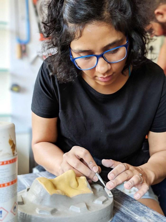 Preetisheel Singh at work in her studio Da Makeup Lab. - Pic 2.