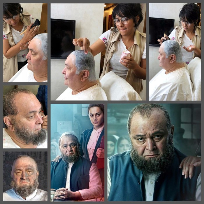 Collage -- Make-up, hair and prosthetic specialist Preetisheel Singh with Rishi Kapoor during the making of Mulk. Also -- Posters of Mulk. (Image courtesy - Internet).