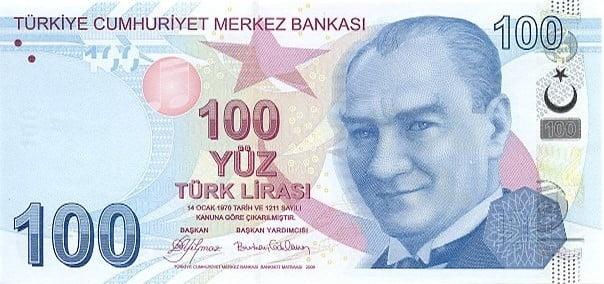 الليرة التركية الحديثة من فئة 100 ليرة تركية