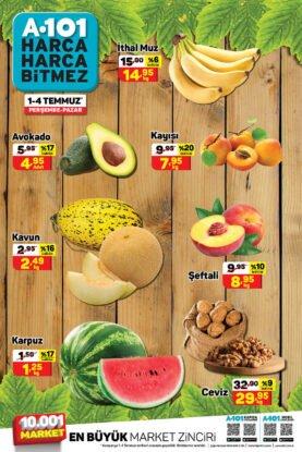 تخفيضات ماركت يوز بير A101 على الفواكه والخضروات والأفوكادو والبطيخ