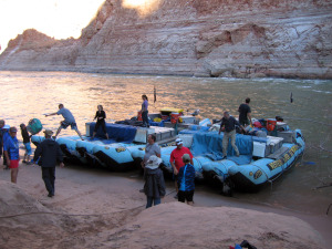 The rafts are tied up at our campsite for the night. Copyright Donnelle Oxley