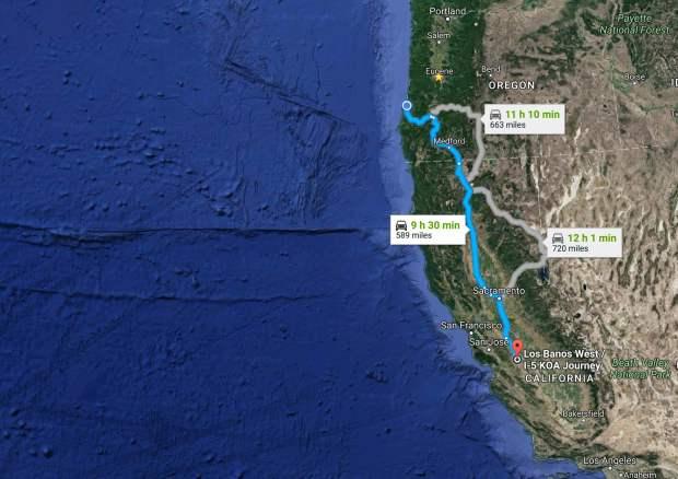 The Mill Casino Hotel & RV Park to Los Banos West _ I-5 KOA Journey - Google Maps