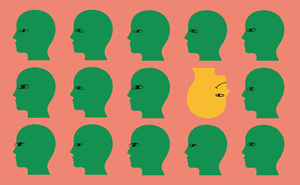 Illustration of rows of green heads with one upside-down yellow head