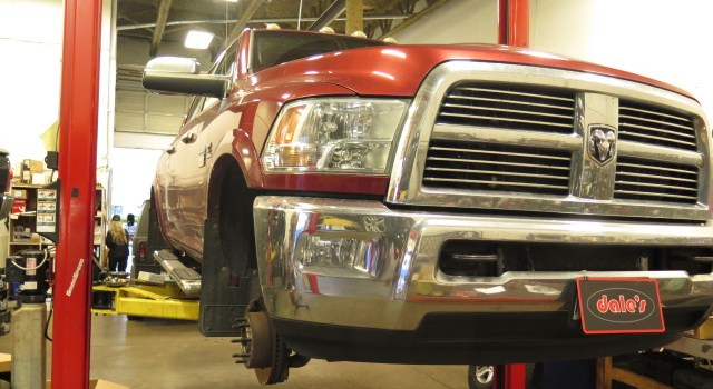Dodge Ram 3500 getting new rims/tires and fender flares at Dales Auto Service