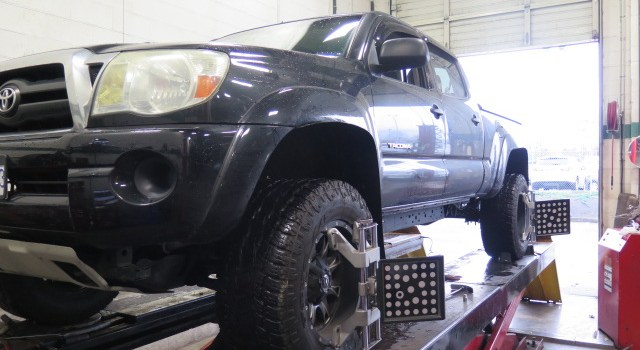 Toyota Tacoma in for adj. SPC Upper Control Arms and an Alignment at Dales Auto Service