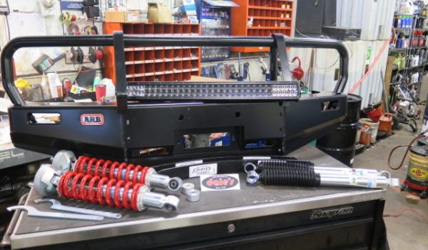 Toyota Tacoma ARB bumper and Toytec BOSS suspension kit are now installed at Dales Auto Service