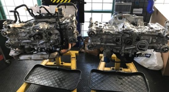 Two Subaru EJ257 getting put together at Dales Auto Service