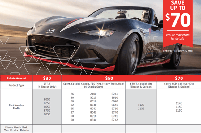 KONI Season of performance rebate at Dales Auto Service/Motorsport